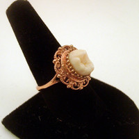 LOVED TO DEATH Memento Mori Genuine Human Tooth Ring Victorian Inspired Rose Gold Vermiel Filigree Size 5 6 7 8