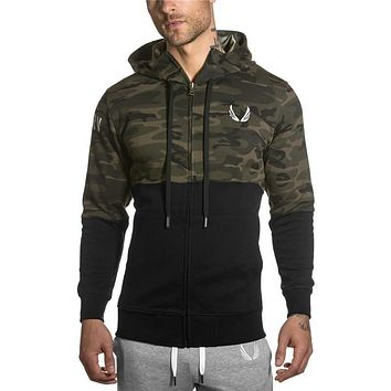Men GYMHoodies Cotton Sweatshirt Male Tracksuit Hooded Jacket Patchwork Male Hoody Jackets Hoodies