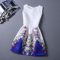 Flower Print Sleeveless Dress - Yellow Blue Red