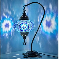 New BOSPHORUS Stunning Handmade Swan Neck Turkish Moroccan Mosaic Glass Table Desk Bedside Lamp Light with Bronze Base (Blue) Blue