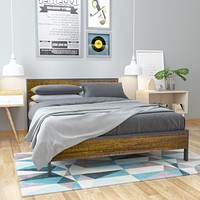 WeeHom Metal Platform Bed Frame with Wood Headboard and Footboard Heavy Duty 14 Inch Beds Mattress Foundation Under-Bed Storage No Box Spring Needed No Noise-Free Queen Brown