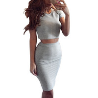 Short Sleeve Top Women's Club Skirt Sexy Party Bodycon Vestidos Two Piece Outfits Midi Skirts L4 SM6