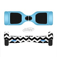 The Solid Blue with Black & White Chevron Pattern Full-Body Skin Set for the Smart Drifting SuperCharged iiRov HoverBoard
