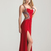 Night Moves by Allure 2013 Prom Dresses - Red Ruched Jersey Beaded One Shoulder Open Back Prom Dress