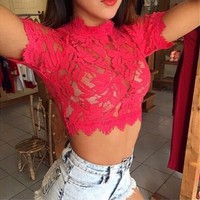 Fashion Eyelash Lace Vest Tops Camisole