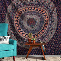 Jaipurhandloom Blue Hippie Mandala Bohemian Psychedelic Intricate Floral Design Indian Bedspread Magical Thinking Tapestry