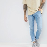 Pull&Bear Slim Fit Jeans In Light Wash Blue at asos.com