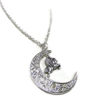 Silver Moon and Pegasus Necklace, Crescent Moon Necklace, Winged Horse Necklace,Mythical Necklace,Moon and Horse Necklace,Celestial Necklace