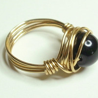 Black Pearl and Gold Wrapped Ring