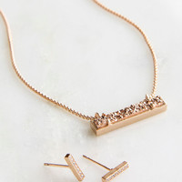 Kendra Scott Jon & Leanor Rose Gold Rose Drusy Gift Set Necklace & Earrings