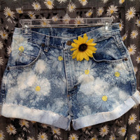 Daisy High Waisted Shorts Daisies Festival Fashion 90's Acid Wash Hand Stamped Waist YOUR SIZE  //SuzNews Etsy Store//