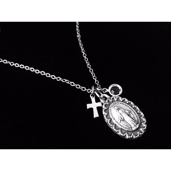 Personalized Miraculous Mary Necklace Stainless Steel Birthstone Jewelry Catholic Medal Trendy Inspirational Gift for Her