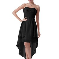 Diyouth Elegant High Low Prom Dresses Chiffon Sweetheart Formal Evening Gowns