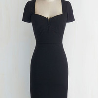 ModCloth LBD Long Short Sleeves Sheath All for Stun Dress in Black