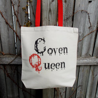 Coven Queen Tote Bag. Witch Wicca Coven Bag. Cotton Canvas Bag. Monster Tote Bag.