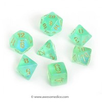 Borealis Light Green 7-Dice Set | Awesome Dice