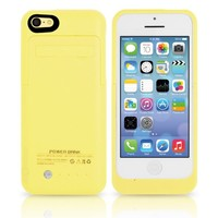TechPro Apple iPhone 5C Rechargeable Backup Battery Case. Intergrated Lightning Port For Easy Access And Data Transfer. [Protective Design - September 2013] - Yellow