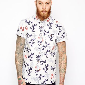 ASOS Shirt In Short Sleeve With Japanese Floral