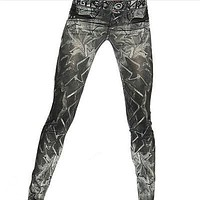 Women Sexy Skinny Leggings Slim Faux Denim Look Jeans Jeggings Stretchy Pants