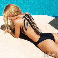 Strappy Women Monokini Swimsuit Black and white One Piece Swimsuit  Strings one piece bathing suits