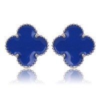 Beady Cleef Single Stud - Silver & Blue