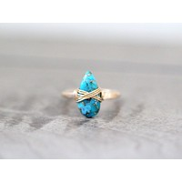 Copper Turquoise Teardrop Ring - Sky Blue
