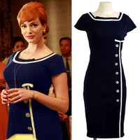 XXS-XXL Mad Men Retro Navy Sailor Nautical Pinup Rockabilly Wiggle Pencil Dress