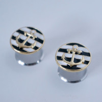 """Black White and Gold Nautical Anchor Plugs Gauges 0g, 00g, 000g, 1/2"""", 9/16"""", 5/8"""""""