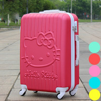 Lovely hello Kitty 20 24 inches girl trolley case students Travel luggage woman Candy color rolling suitcase child Boarding box