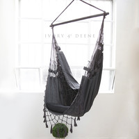 Charcoal French Provincial Hanging Hammock Chair