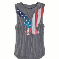 AE Eagle Graphic Muscle Tank, Ebony Grey | American Eagle Outfitters