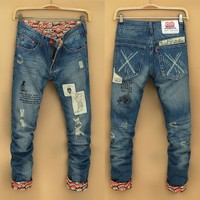 Fashion Stylish Korean Men's Fashion Slim Men Pants Casual Jeans [6528596675]