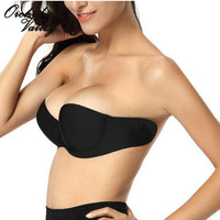 Sexy Woman Adhesive Stick On Gel Push Up Strapless Invisible Bras Backless 3/4 cup