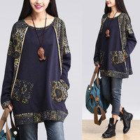 women plus size blouse loose blous cotton tops