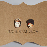 Hall and Oates Stud Earrings,  gift idea, cool jewelry, unique, funky, Daryl Hall, celebrity jewelry, John Oates, music, 80s