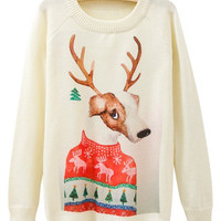White Cute Elk Pattern Knit Jumper