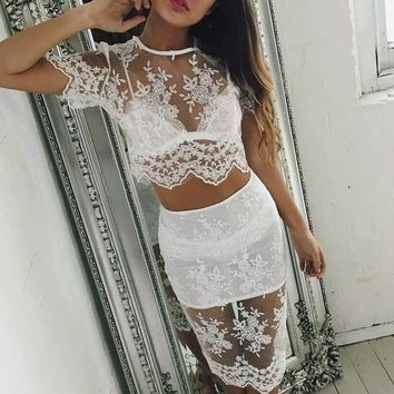 Lace Hollow Out Two-Piece Dress