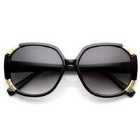 Women's Oversize Square Fashion Corner Accented Sunglasses 9135
