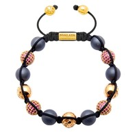 Men's Beaded Bracelet with Matte Hematite and Red CZ