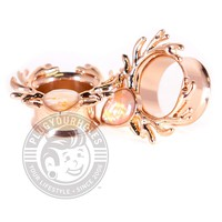 Rose Gold Deer Antlers with Opalite Double Flared Steel Tunnels