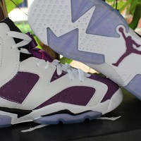 Air Jordan 6 GS White/Purple Sport Shoe 36-40