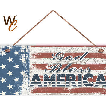 """God Bless America Sign, Weathered Patriotic Decor, Stars and Stripes, American Flag, Weatherproof, 6"""" x 14"""" Sign, USA Flag, Made To Order"""