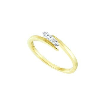 10kt Yellow Gold Womens Round Diamond 3-stone Promise Bridal Ring 1/10 Cttw 20443