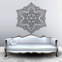 Wall decal art decor decals sticker snowflake Buddhism India Indian circle Buddha OM Yoga room (m216)