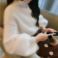 Autumn Winter 2017 Women Loose Sweaters Pullovers Turtleneck Mink Cashmere Batwing Sleeve Sweaters top quality