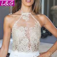 Elegant White Lace Mesh Crop Top Brandy Melville Summer Beach Backless Short Halter Tops Sexy Camis Women Tank Top 30053