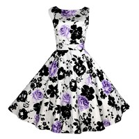 Audrey Hepbum 1950's Vintage Floral Sleeveless Formal Flare Dress Purple - M