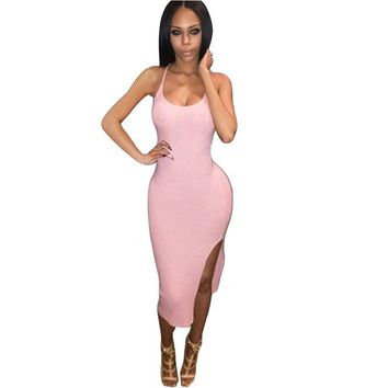 Spaghetti Strap Cross Front Bandage Dress Backless V-neck Cut Out Dress Maxi Dress bodycon dresses club