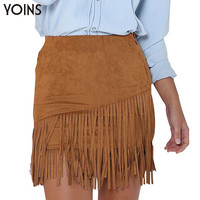 YOINS New Style Women Tassel High Waist Straight Skirt Fringed Suede Zipper Clubwear Winter Fall Clothing Vestidos Femininos
