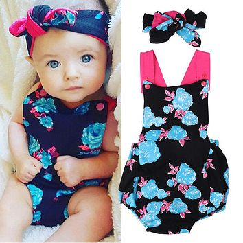 Newborn Baby Girls Clothes Bodysuit Jumpsuit Tops Headband 2pcs Flower Cute Outfits Baby Girl Clothing Set